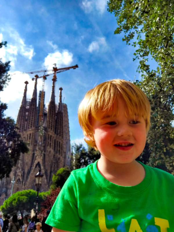 Barcelona with Kids Ted at the Sagrada Familia