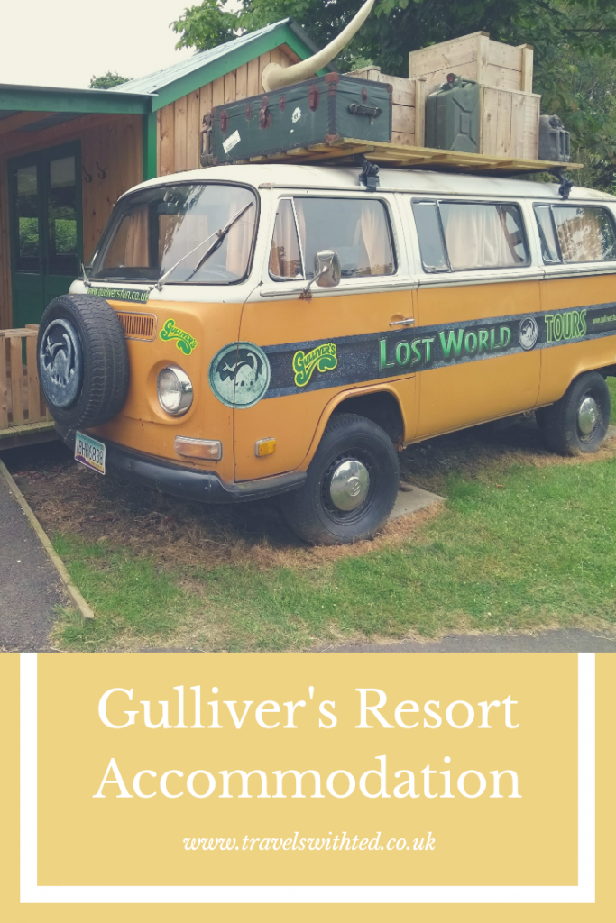 Accommodation at Gulliver's Adventurer's Village resort in Milton Keynes. Dino Dens and Lost World Cabins.