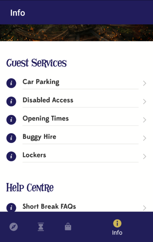 Alton Towers App Info Function