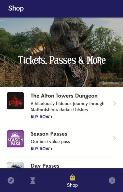 Alton Towers App Shop Function