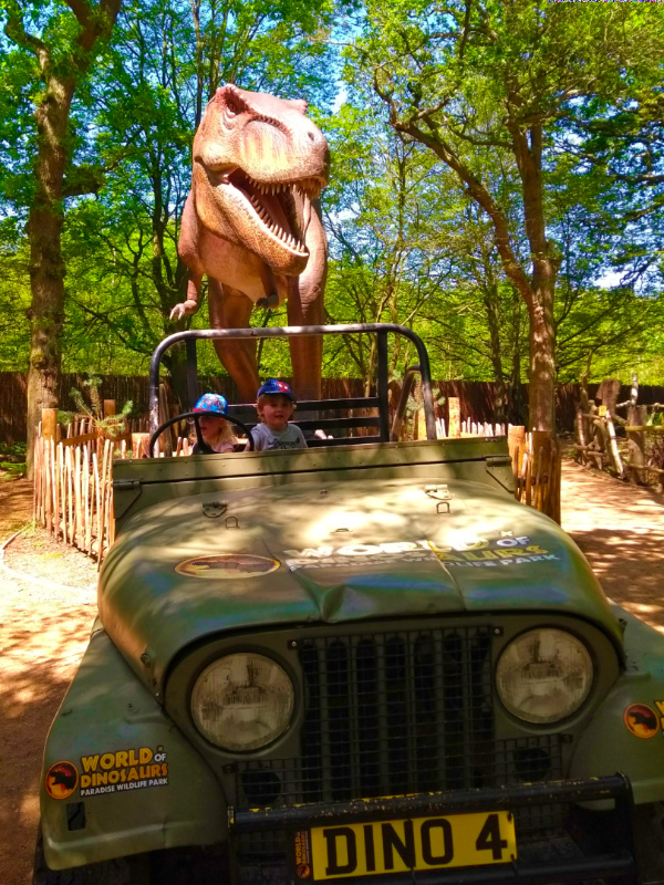 T-rex chasing a jeep at Paradise Wildlife Park