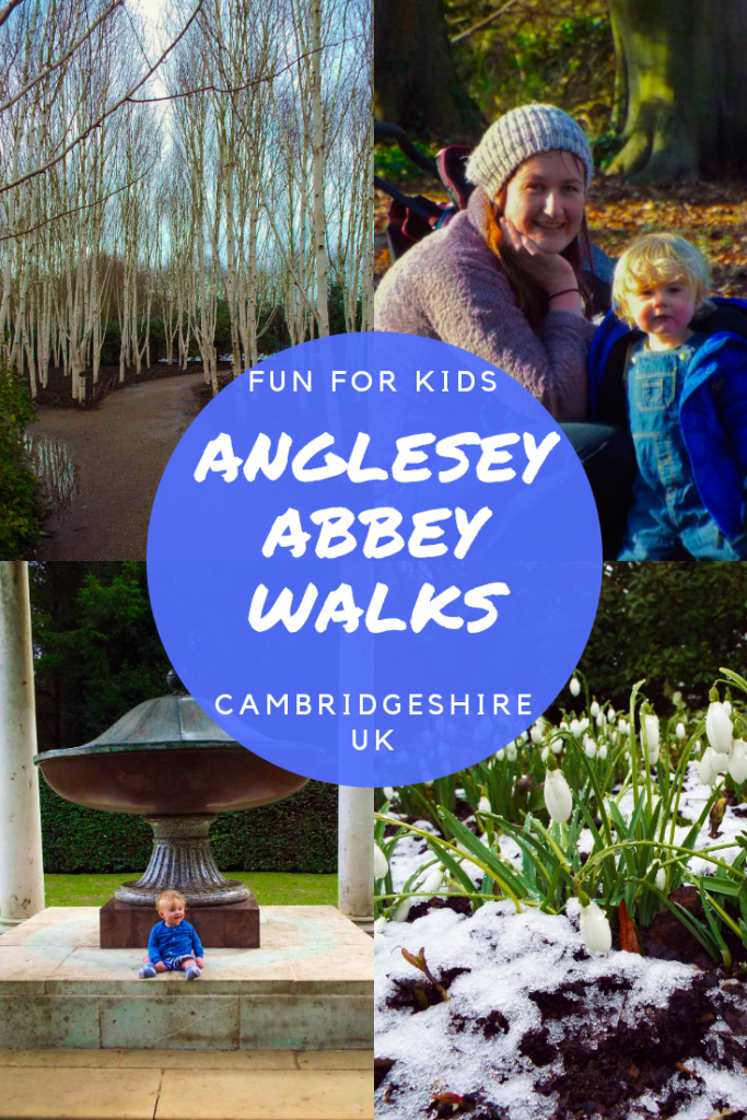 Anglesey Abbey walks with Kids. Anglesey Abbey National Trust in Cambridgeshire UK.