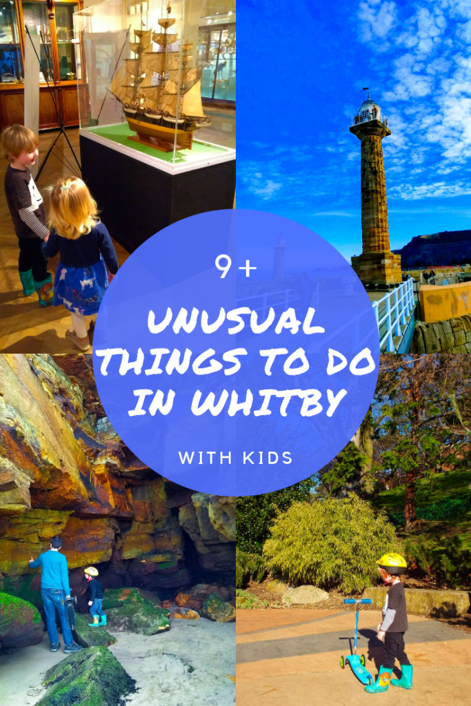 Unusual things to do in Whitby, North Yorkshire with kids. Fossil hunting, Dracula, lighthouse, Whitby museum and more