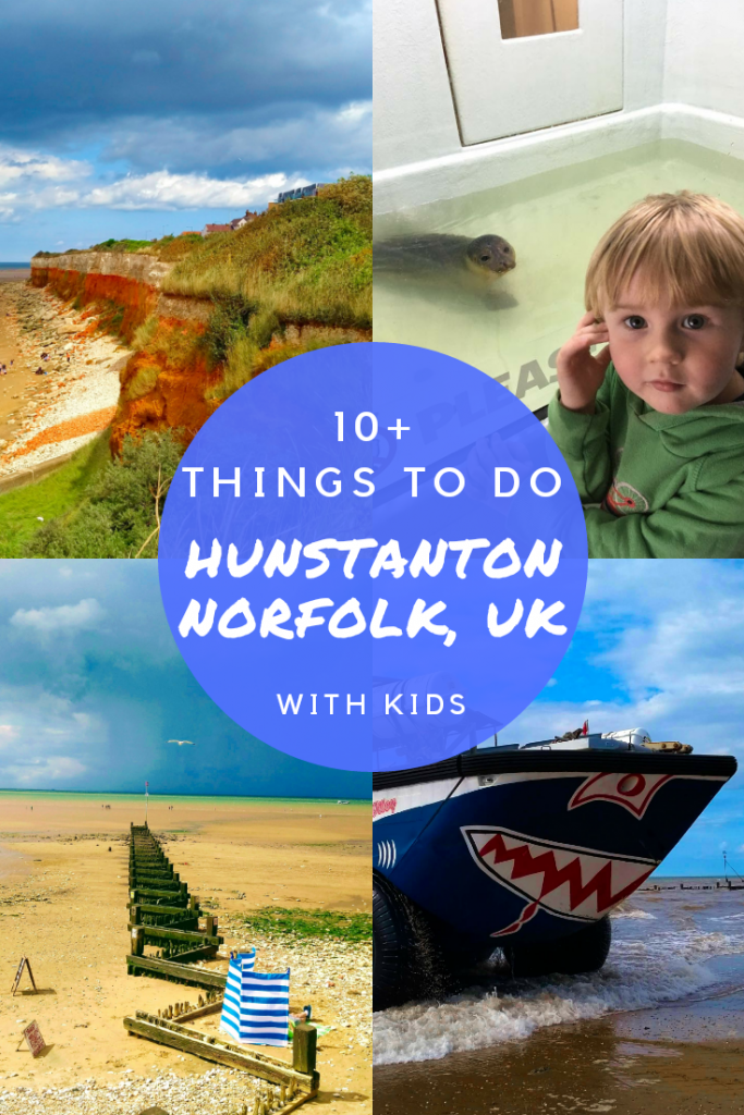 10 things to do in Hunstanton, Norfolk with kids. If you are wondering what to do in Hunstanton, Norfolk, UK then chick out this post. Includes the Wash Monster, SEA LIFE Centre, beach, cliffs and more. #norfolkuk #visitbritain #norfolk